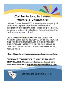 Call for Actors Actresses Writers Volunteers