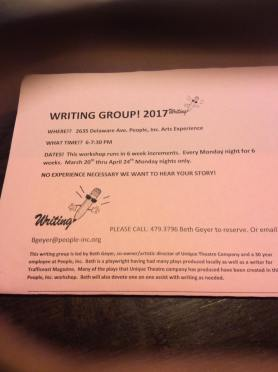 2017 Writing workshop. Please join us this year for the annual writing workshop. This is where some of the locally staged plays get developed and where we also help develop your story. At the very least we can give you some ideas to work with. March 20th thru April 24th. Monday nights 6-7:30 at Arts Experience.